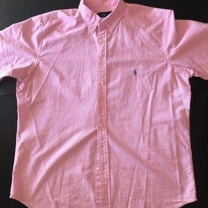 Ralph Lauren, Pink & White Stripe, Short Slv, XLT